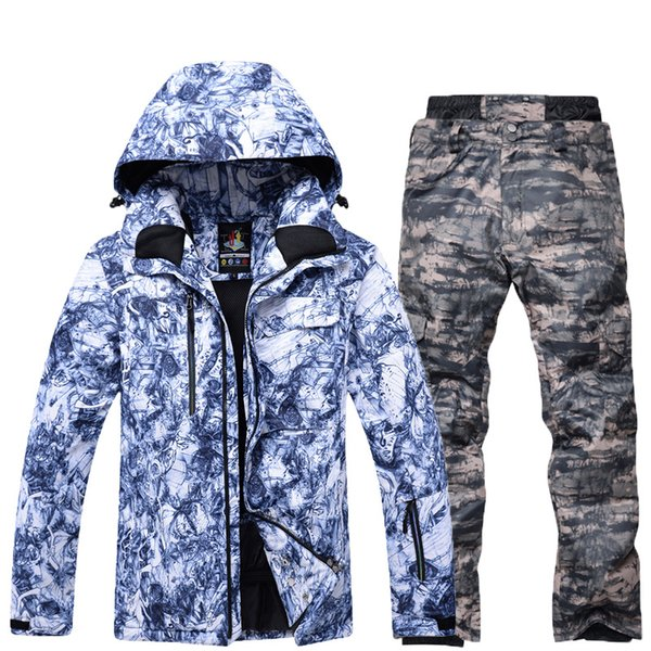 2018 New Hot Ski suit Men Snowboard Double skis Waterproof Winter Outdoor ski suit Men jacket + pants Thick warm snow