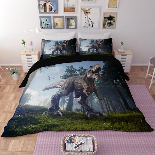 Unique Bedding Sets Queen.3d Cartton Dinosaur Bedding Sets King Size Cool Duvet Cover Set With Pillowcase Queen Single Boys Adults Home Textile Bedclothes Bedding Sets