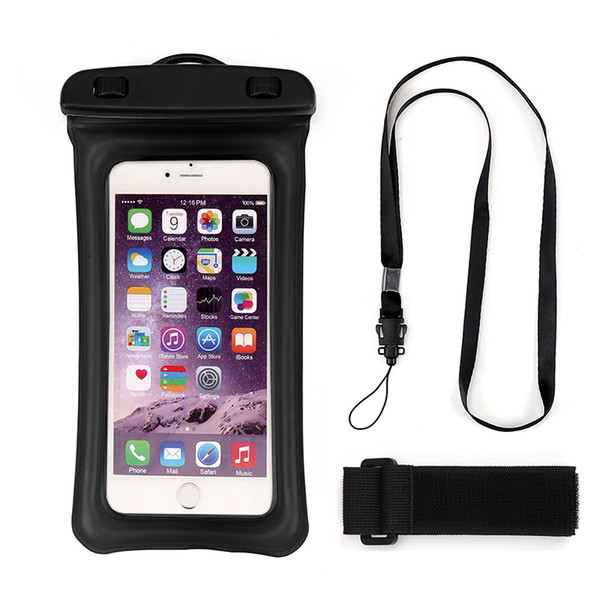 Floatable Waterproof Phone Case Dry Bag Cellphone Pouch with Armband and Neck Strap for iPhone X 8 Plus