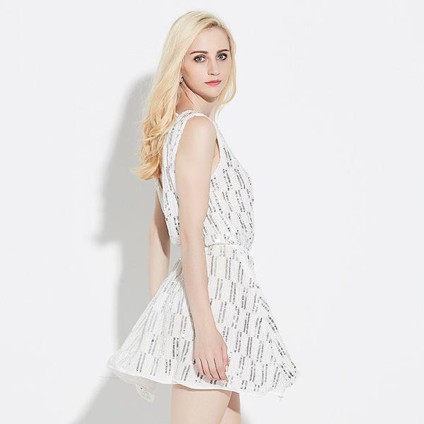 Sequins Seksi Geri Lüks Elbise 2018 Yaz Kadın Giyim Yeni Moda Elbiseler Kolsuz Derin V Elbise Gece Kulübü Etek Bırak Ile alışveriş