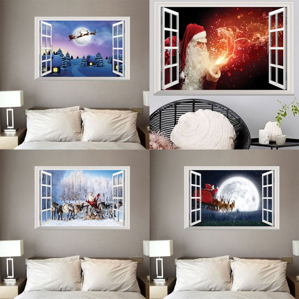 10 styles New Christmas Santa Claus elk Wall Stickers for Christmas Day home decor removable window stickers Free shipping