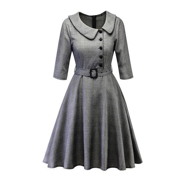 Vintage Plaid Swing Dress Women Waist Belt Skinny Office Lady Work Wear Simple Fashion Elegant Party High Street Autumn Dresses