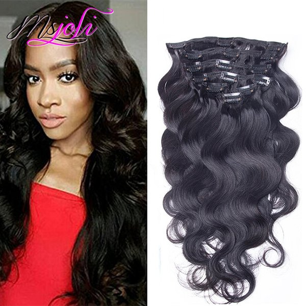 Clip In Human Hair Extensions Body Wave Virgin Malaysian Human Hair Extensions Clips Ins 7Pcs/Set 140gG For Whole Head Clip In Hair