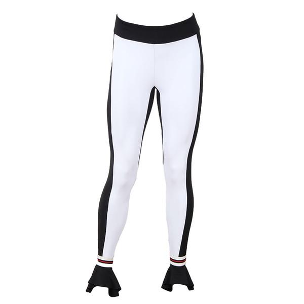 2019 Nueva Moda Sexy Otoño Invierno Mujer Leggings Contraste Color Bloque Flare Hem Fitness Bodycon Pantalones Blanco
