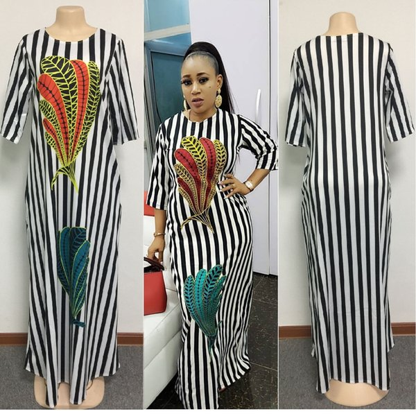 2018 Fashion Women Black and white stripes maxi dress Design Traditional African Clothing Print Dashiki Nice Neck African Dresses for Women