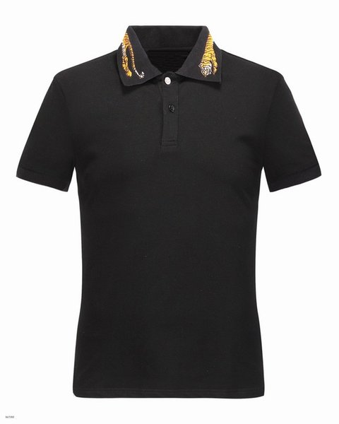 High New 2018 Men High Embroidered Yellow Tiger Collar Polo Shirts Shirt Hip Hop Skateboard Cotton Polos Top M-3XL #G1