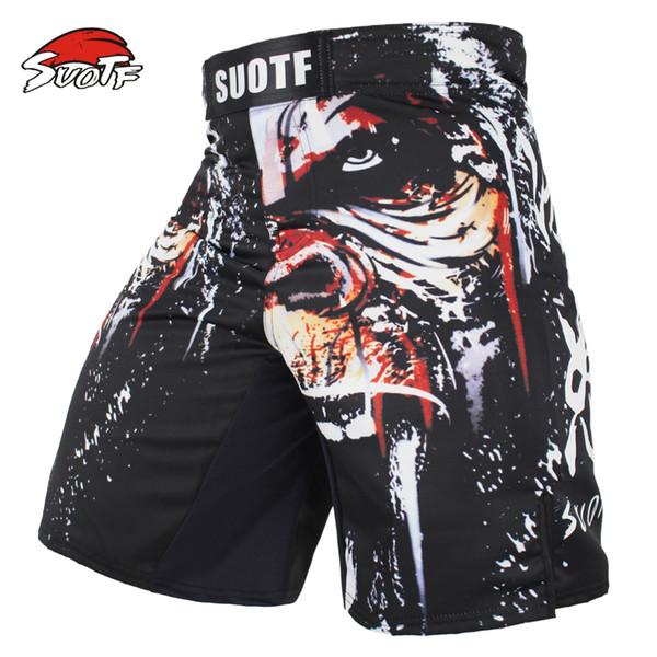 Suotf Mma boxeo deportes hombres orangután patrones personalidad aliento gran aptitud tailandés boxeo pantalones cortos tigre muay tailandés kickboxing