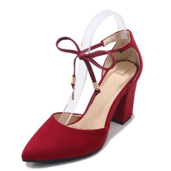 SJJH 2018 Tıknaz Topuk ve Sivri Burun ile Zarif Sandalet Sandalet Zarif Çalışma Şık Kadınlar için Şık Ayakkabı Büyük Boy Mevcut A324