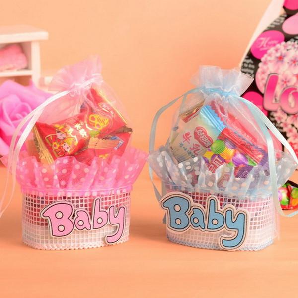 Bolsas de dulces para cumpleaños de bebés Bolsas con asa Cajas de regalo para fiestas de cumpleaños Babero lindo Caja de azúcar Favor de fiesta de lujo Azul Rosa Colores al por mayor