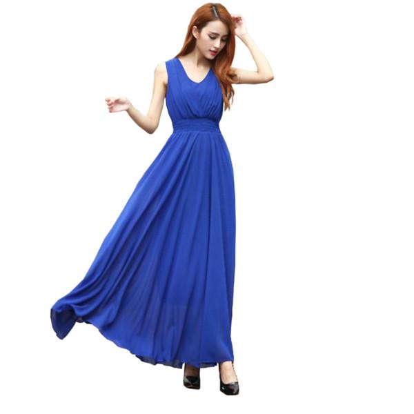 Sommer 2018 Bohemian Womens Kleid langes festes Kleid dünne ärmellose Strandkleid für weibliche V-Ausschnitt 6 Farbe niedlichen Stil