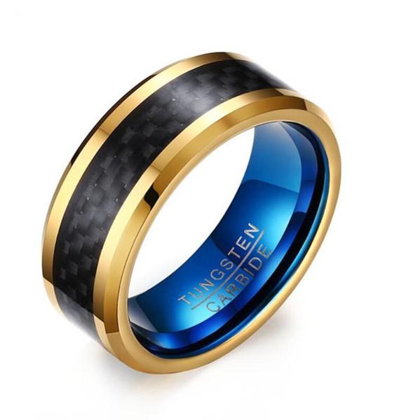 ZHF Jóias Bandas De Casamento De Carboneto De Tungstênio 6mm Linha de Ouro Anel Preto Acabamento Fosco Masculino Anel de Noivado de Jóias