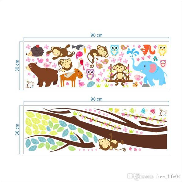 cartoon 2pcs 104*116cm forest animals swing tree wall sticker for kids room decor bear owl monkey wall art decals diy pvc mural