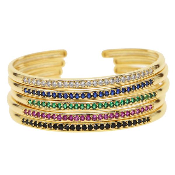 Braccialetti di cristallo colorati di alta qualità arcobaleno Placcato CZ braccialetto ragazza partito scintillante cz delicato sottile braccialetto sottile