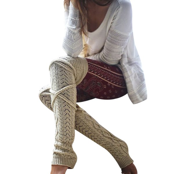 Winter Knitted Crochet Knee Long Stocking Women Sexy Thigh High Stocking Stay Up Boot Legging Collant Femme