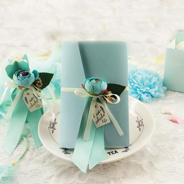Compre Tarjeta De Invitaciones De Boda Papel De Perla Azul Con Flores De Seda Hechas A Mano Baby Shower Tarjetas De Invitación De Cumpleaños
