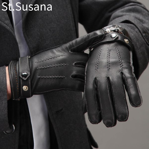 St.Susana 2018 Men Genuine Sheepskin Leather Gloves Fashion Male Autumn Winter Warm Gloves Touch Screen Mittens Driving Gloves C18111501