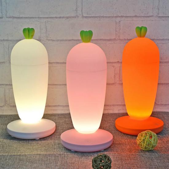 LED 3D Bonito Rabanete Estilo Night Light USB Exclusivo Recarregável Destacável Toque Atmosfera Dimmer Brinquedo Noite Lâmpada de Enfermagem Do Bebê Para Casa
