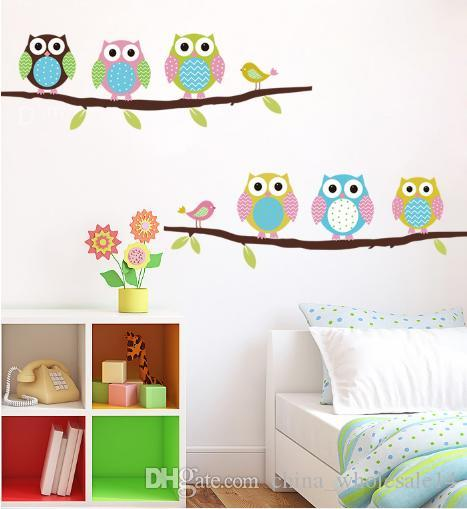 mix wholesale Cartoon children's room bedroom walls painted decorative stickers cute Owl Animal Wall Stickers Free shipping ARI-341