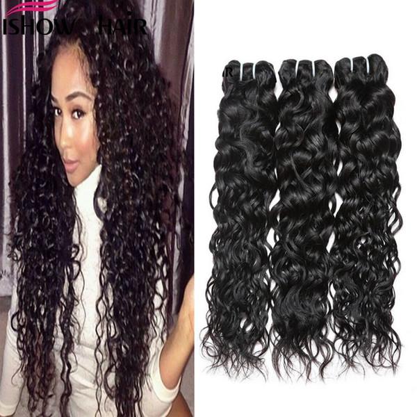 Extensiones de cabello de onda de agua brasileña humana de Ishow venta al por mayor 8a sin procesar peruano mojado y Weavy Vrigin paquetes de cabello humano envío gratis