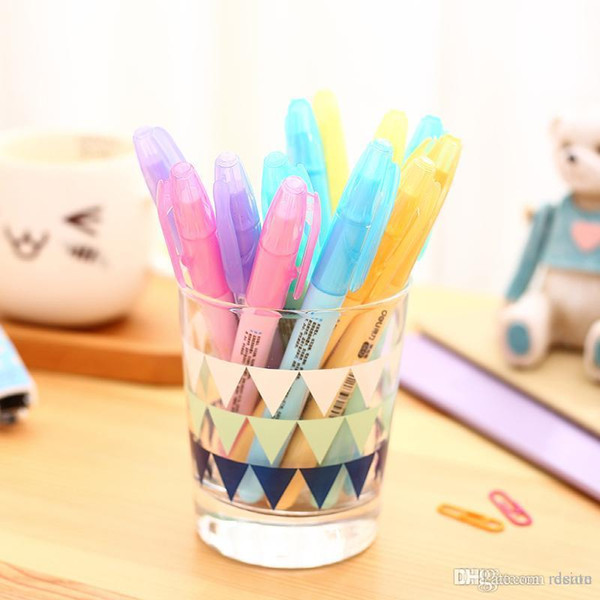 Wholesale-1 Pcs Korean Cute Kawaii Deli Watercolor Highlighter Stationery Sets For Kids School Supplies Invisible Ink Pen Markers Painter