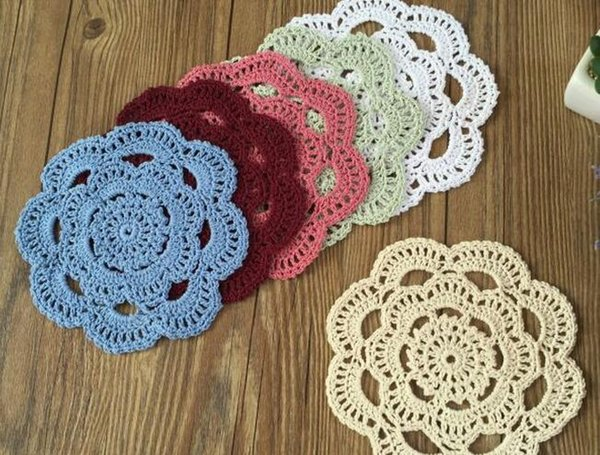 HOT DIY lace cotton place table mat pad cloth crochet cup round doily placement coaster mug holder placemat Kitchen accessories