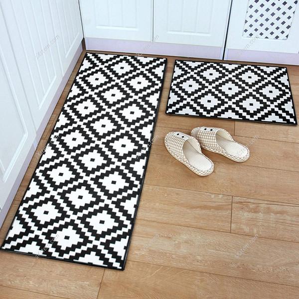 yazi Modern Flannel Grid Doormat Soft Plush Carpet Kitchen Floor Mat Anti Slip Entrance Rug Welcome Door Mat Outdoor