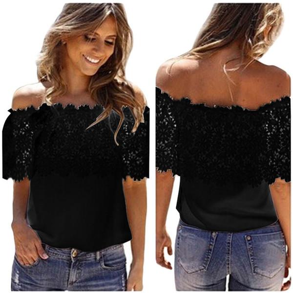 good quality Sexy Women Off Shoulder Casual Tops Lace Crochet Chiffon Shirt Chiffon Sleeveless New Tee Femme Plus Size