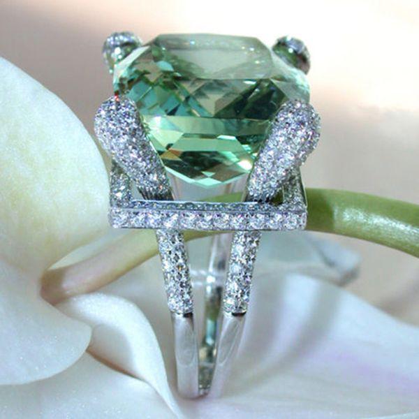 Simple Geometric Square Crystal Zircon Women Rings Big Green Stone Wedding Engagement Rings Size 6-10 anel feminino
