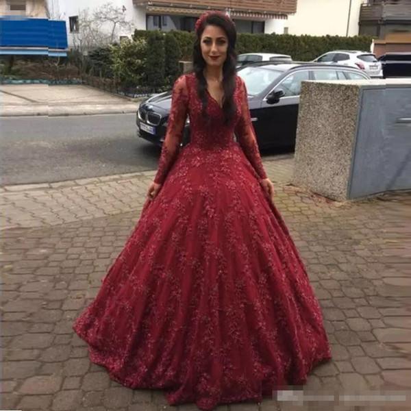 Burgund Long Sleeves Ballkleid Prom Kleider Volle Spitze Appliqued Formale Abendkleider nach Maß Quinceanera Kleid