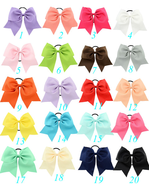 top popular 2018 20Pcs 8 Inch Large Solid Cheerleading Ribbon Bows Grosgrain Cheer Bows Tie With Elastic Band Girls Rubber Hair Band Beautiful 2020