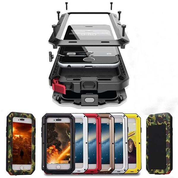 Luxury Shockproof Doom Armor Waterproof Metal Aluminum Phone Cases For iphone X 8 7 6 6s Plus 5s SE Case Cover Screen Glass