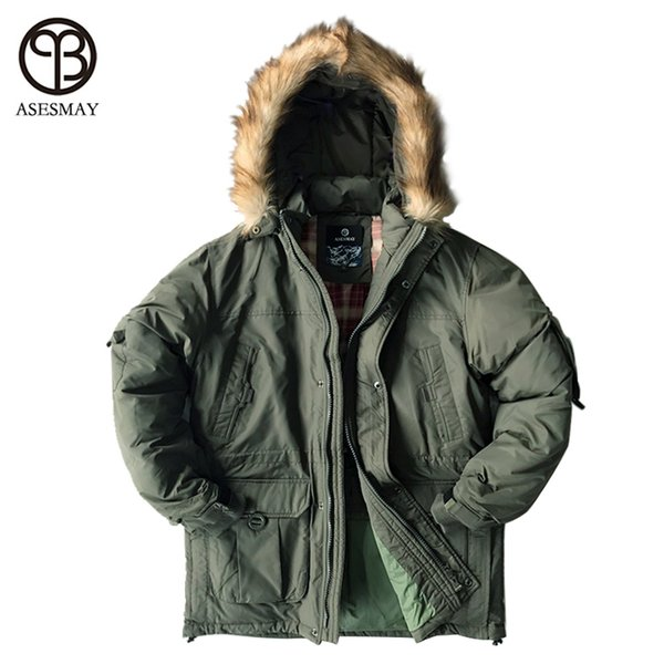 Asesmay Brand Down Jacket Men Military Cotton Fabric White Duck Down Thick Outwear Waterproof Men Down Parka Jackets Snow Coat L18101102