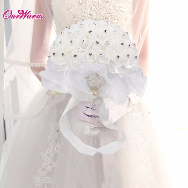 Bridal Bouquet Foam Roses Artificial Flowers Luxury Rhinestones Wedding Decoration Bouquet Handmade Silk Ribbon Flowers