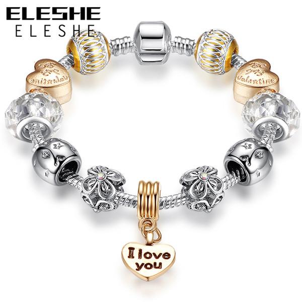 "ELESHE For Valentine's Gift Rose Gold Heart Pendant Charm Bracelets with Letter ""I LOVE YOU"" European Style Crystal Star Beads Bracel"