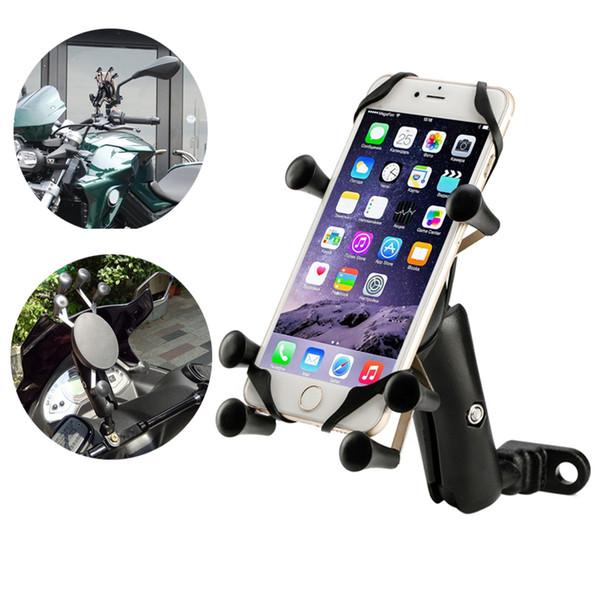 Universal Adjustable Mobile Phone GPS Shockproof Holder Motorcycle Bike Bicycle Handlebar and Motor Car Rearview Mirror Mount Stand