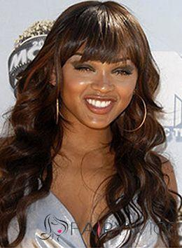 Brown wavy glueless full lace wig with bang virgin malaysian hair lace front human hair wigs full fringe