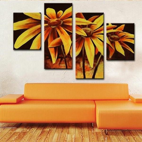 Grande 4 Painel Lona Imagens Artesanais Pinturas Florais Pintados À Mão Abstrata Amarela Girassol Flor Pintura A Óleo Casa Arte Da Parede
