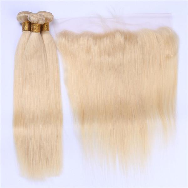 Recto sedoso Paquetes de cabello humano rubio brasileño con cierre frontal # 613 Bleach Blonde Cabello virgen Frontal de encaje con paquetes de tejido