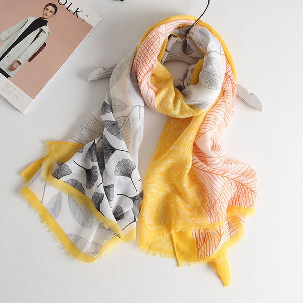 أزياء الربيع الصيف والأوشحة النساء العرقية الرجعية الجنكة يترك طباعة القطن الكتان شال وشاح عطلة البوهيمي الشاطئ منشفة واقية من الشمس الأغطية