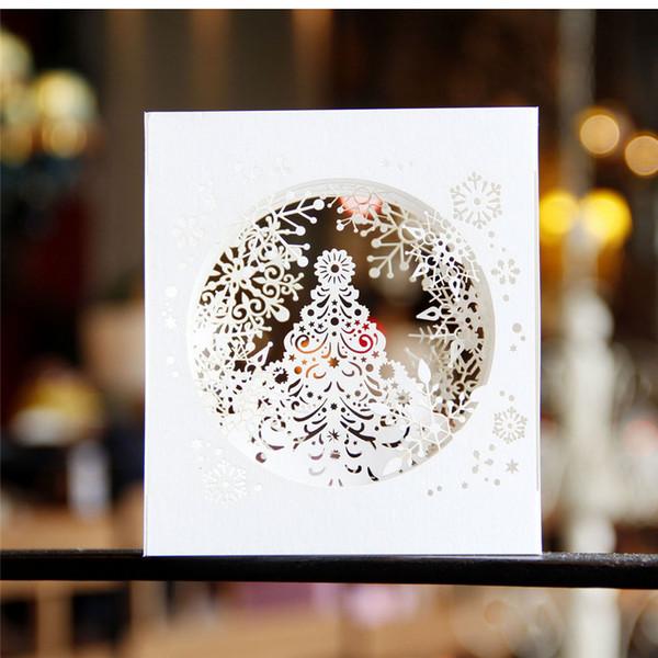 3D pop up paper laser cut cards Merry Christmas 3D Tree Boxes snowflake design Greeging cards vintage postcards Message paper