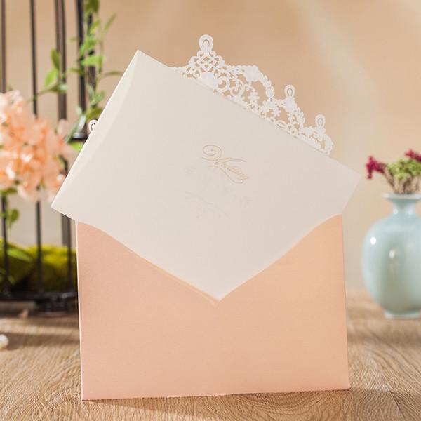Wishmade Glittery Wedding Invitations Kits mit Laser Cut Lace Design Flora lädt Karten Engagement für Geburtstagsfeier Brautdusche