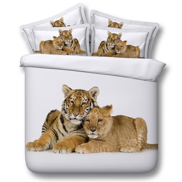 3D Tiger leopard bedding sets animal duvet cover bedspreads white comforter cover Bed Linen Quilt Covers silver bed cover for children kids