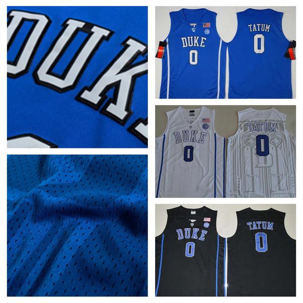official photos 40aa8 ef3d2 2019 High Quality Duke Blue Devils NCAA #0 Jayson Tatum Jersey Blue White  Black Jayson Tatum College Basketball Jersey University Stitched Shirts  From ...