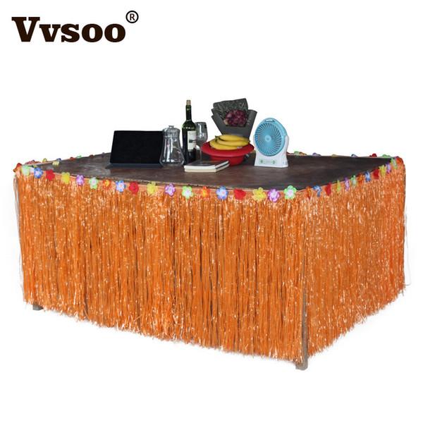High QualityVvsoo Hibiscus Flower Artificial Grass Table Skirt Hawaiian Summer Luau Party Decoration Wedding Birthday Party Table Decor