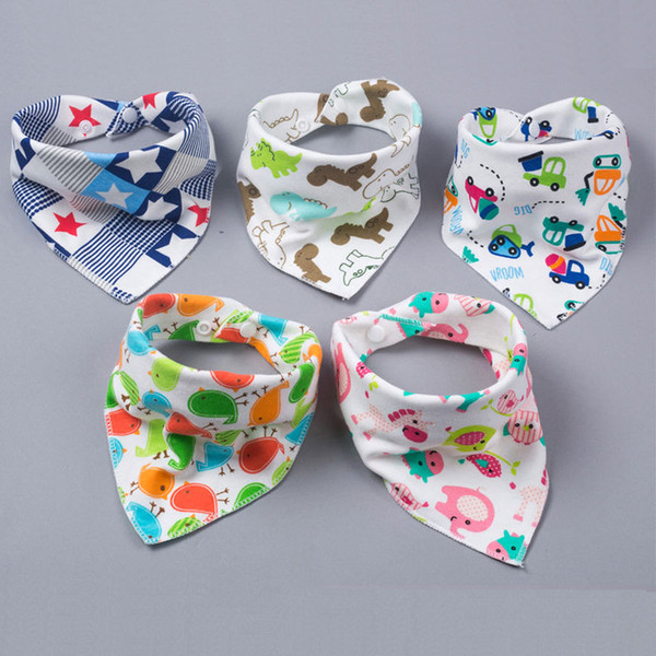 Pretty Baby baby feeding triangle bibs cotton infant bibs Animal Print baby bibs new arrival 0601815