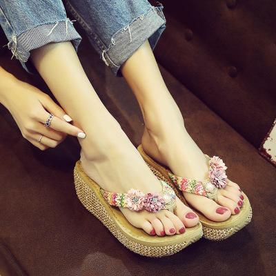 2018 Summer Hot Sale Female Bohemia Slippers Woman Flip Flops Fashion Wedge Heels Pantshoes Female Footwear for Girls