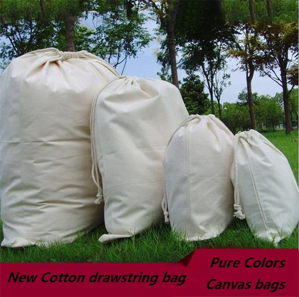 New cotton drawstring bags, cloth bag, DIY Storage bag Christmas canvas bags I460