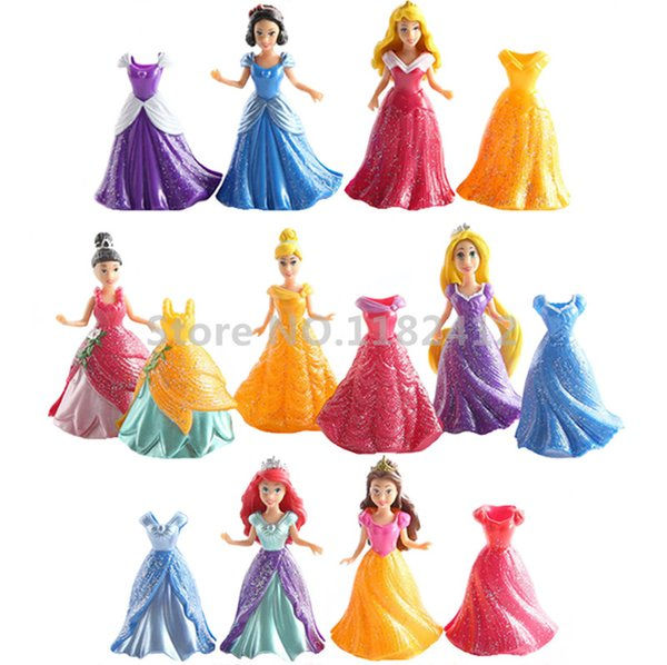 Princess Magiclip Easy Dress 7 Dolls 14 Dresses Figures Play Set Rapunzel Little Mermaid Ariel Snow White Cinderella Tiana Belle 18 Inches Dolls