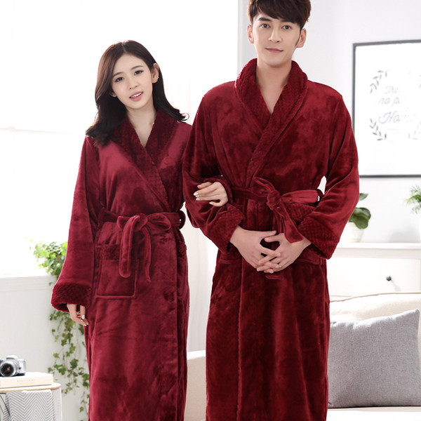 Mix and Match Welcome Free shipping ACI-236 Hot Sale Lovers Silk Flannel Warm Long Bathrobe Women Dressing Gown Bride Kimono Bath Robe Femme