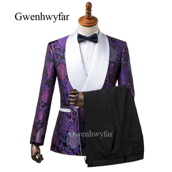 Жених Смокинги Groomsmen Фиолетовый Красный Белый Черный шаль лацкане Лучший костюм человека Обручальные блейзер людей Подходит Выполненная на заказ (куртка + брюки) K29